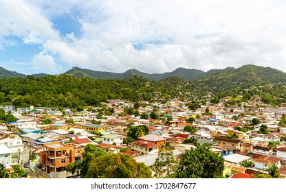 Aerial Photo of Belmont, Port of Spain, Trinidad with Lush Green Mountain as background