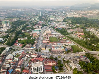 Aerial Photo - Bird's eye view of the town of Ipoh,  the capital city of the state of Perak, Malaysia and also the third largest city in the country, some 180km from Kuala Lumpur