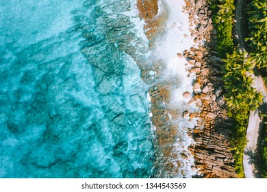 Aerial photo of bizarre paradise tropical beach Anse Bazarca at Mahe island, Seychelles. Summer vacation, travel and lifestyle concept