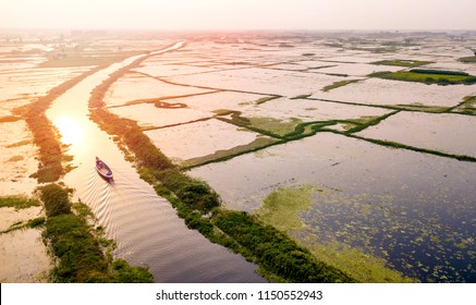 Aerial photo of boats in Arial Beel, Dhaka, Bangladesh