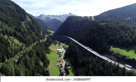 Aerial photo of Brenner Pass in Italian Passo del Brennero is a mountain road through Alps which forms border between Italy and Austria and is one of principal passes of Eastern Alpine range