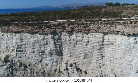 Aerial photo of bright white mediterranean cliff the large cliff face located at south Sicily in Italy Europe White Cliffs of Sicily are cliffs that form part of the Italian Sicilian coastline