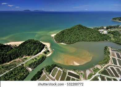 (Aerial photo of Bukit Keluang,Besut,Terengganu,Malaysia) The beautiful view  in seaside kluang hill, Terengganu, Inside view of a helicopter in flight