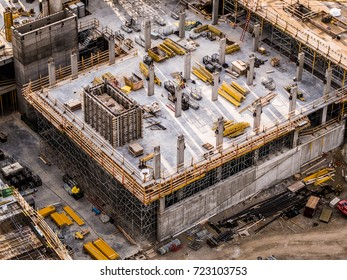 Aerial Photo Busy Industrial Construction Site