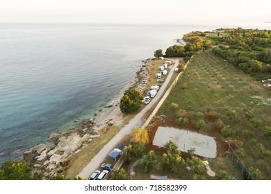 aerial photo of camping near novigrad, istria