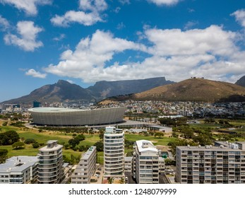 Aerial photo of Cape Town South Africa, overlooking Table Mountain, Lions Head and the waterfront with the stadium
