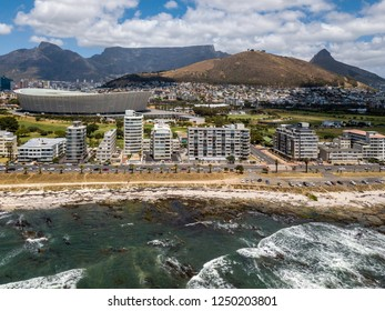 Aerial photo of Cape Town in South Africa as seen from the waterfront - overlooking Table Mountain and Lions Head