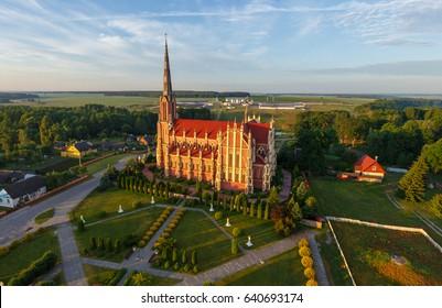Aerial photo of catholic church in Herviaty, Belarus
