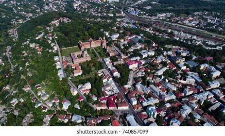 Aerial photo of chernivtsi national university of yuriy fedkovych. Buildings, railway station and  street of European city Chernivtsi.