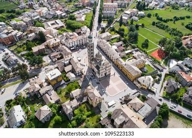 Aerial photo, church of Madonna of Tirano in Valtellina