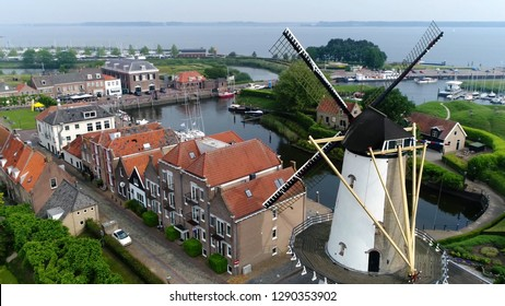 Aerial photo of classic typical Dutch windmill building located in the historical town Willemstad is a city in the province of North Brabant in the municipality of Moerdijk