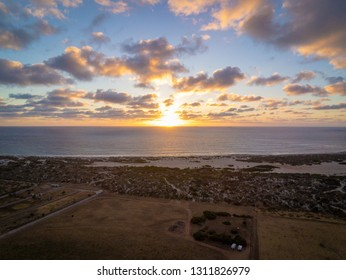 Aerial photo of the colorful sunset at the coast of Western Australia, Geraldton