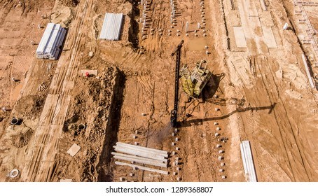 aerial photo construction of houses and buildings, drone photo
