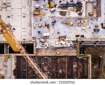 Aerial Photo of Crane and Busy Work Site