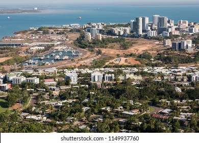 An aerial photo of Darwin, the capital city of the Northern Territory of Australia showing the central business district and nearby suburbs of Stuart Park, Tipperary Waters, Bayview and  Frances Bay