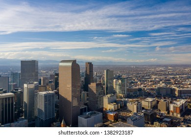 Aerial photo Downtown Denver CO and Civic Park