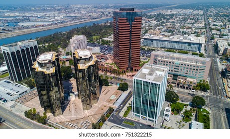 Aerial photo of downtown Long Beach, Ca. taken on 9-7-17.