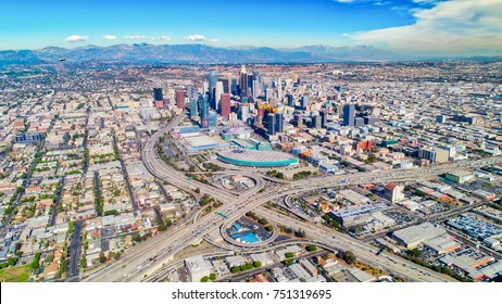 Aerial photo of downtown Los Angeles, Ca. Goodyear blimp in upper left corner