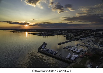 Aerial photo of downtown Pensacola, FL at sunset.