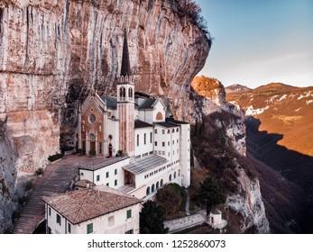 Aerial photo drone View of Madonna della Corona Sanctuary, Italy