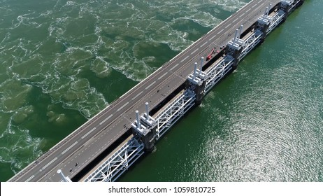 Aerial photo of The Eastern Scheldt storm surge barrier in Dutch Oosterscheldekering the largest of 13 ambitious Delta Works series of dams and storm surge barriers designed to protect Netherlands