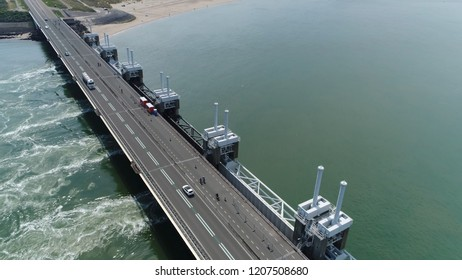 Aerial photo of Eastern Scheldt storm surge barrier in dutch Oosterscheldekering is largest of Delta Works series of dams and barriers designed to protect Netherlands from flooding