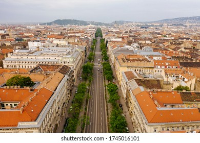 Aerial photo of the famous Andrassy Avenue in Budapest, Hungary
