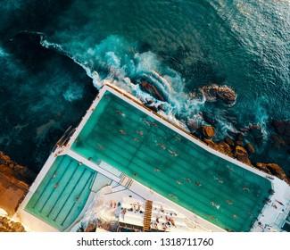 Aerial photo of the famous Bondi Icebergs ocean pool, located in Sydney, Australia.