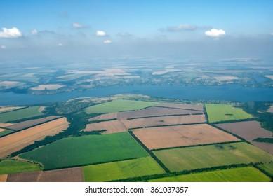 Aerial photo of Farmland and Dnepr river