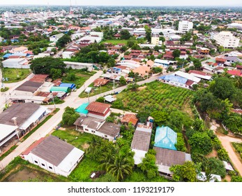 Aerial photo from flying drone over village in Thailand