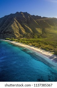 Aerial photo flying over the west side of oahu
