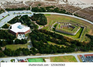 aerial photo of fort macon in north carolina shot from an airplane