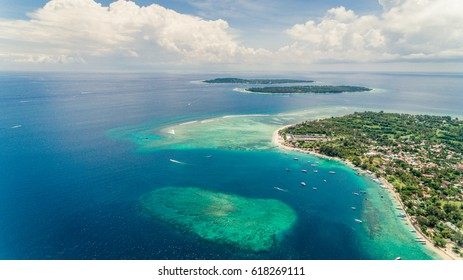 Aerial photo of gil Islands, Indonesia