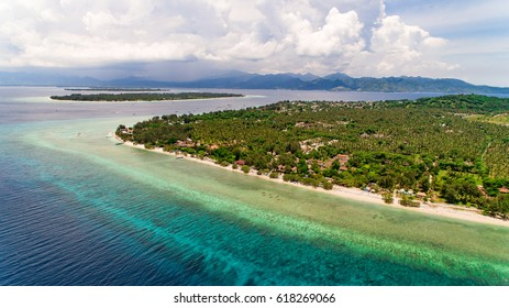Aerial photo of the Gili Islands, Indonesia