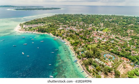 Aerial photo of Gili Islands, Indonesia