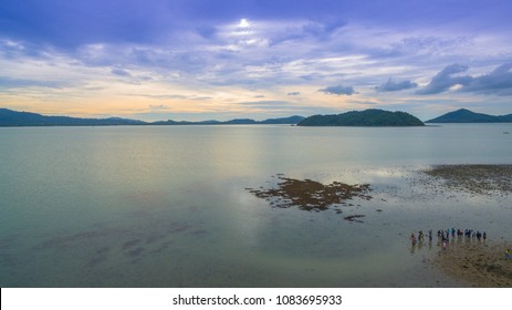 aerial photo graphy during low tide we can see a lot of coral reef around Hea island Pa Yu island and Ngum island at Ao Kung area in Phuket.