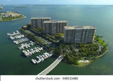 Aerial photo of Grove Isle condominiums Miami FL
