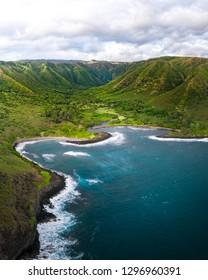Aerial photo of Halawa Bay, Molokai