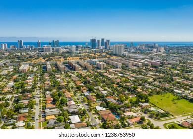 Aerial photo Hallandale Florida neighborhoods