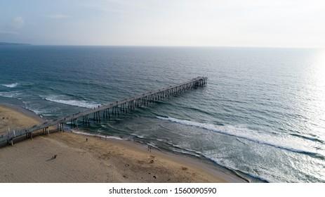 Aerial photo of Hermosa Beach Pier in Los Angeles, California