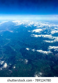 Aerial photo high above Pyrenees mountains