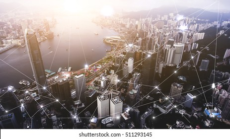 Aerial photo of Hong Kong develop city with popular financial and business centers. Advanced infrastructure of buildings construction and urban transportation.Infographics elements with networking map