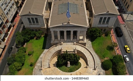 Aerial photo of iconic landmark neoclassic building of public Library in the heart of Athens historic centre, Acadimias street, Attica, Greece