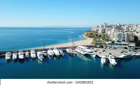 Aerial photo of iconic port of Marina Zeas with boats docked, port of Piraias , Attica, Greece