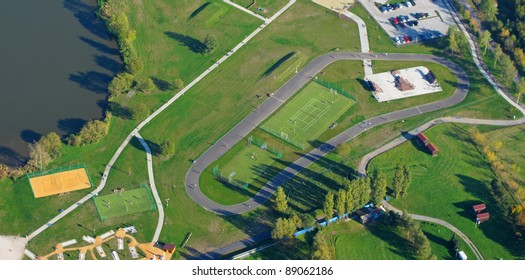 Aerial photo of inline skate park with tennis, volleyball and basketball court. Sports park for free time activities in Pilsen, Czech republic, European union.