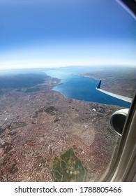 Aerial photo of Izmir city from an airplane. Izmir Turkey