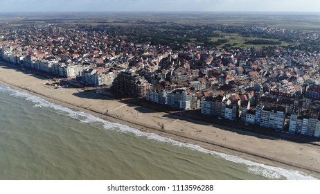 Aerial photo Knokke-Heist city in Belgian province of West Flanders it is located along North Sea on the Belgian border with the Netherlands and is Belgiums best-known and most affluent seaside resort