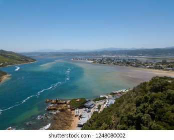 Aerial photo of Knysna and its lagoon along the garden route in the Western Cape, South Africa