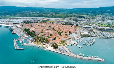 Aerial photo of Koper town and the National Harbor  - Slovenia, Europe