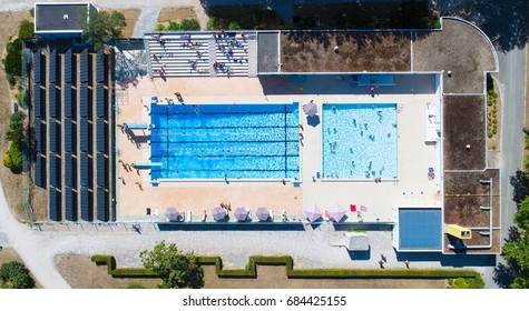 Aerial photo of La Charbonniere public swimming pool in Ancenis, Loire Atlantique, France